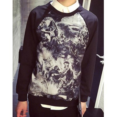 Гаджет   Round Neck Fighters Print Long Sleeve Slimming Men