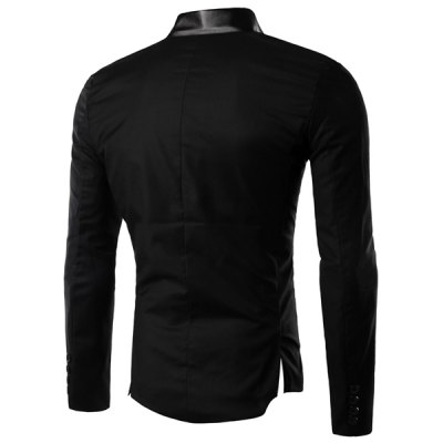 Personality Irregular Button Fly PU Leather Spliced Side Slit Stand Collar Long Sleeves Men