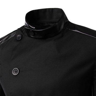 Гаджет   Personality Irregular Button Fly PU Leather Spliced Side Slit Stand Collar Long Sleeves Men