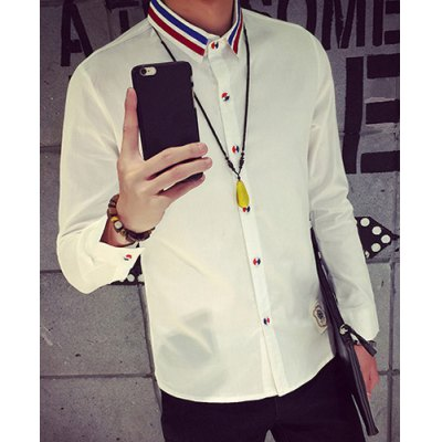 Гаджет   Colorful Button and Stripe Print Turn-Down Collar Appliques Long Sleeve Men