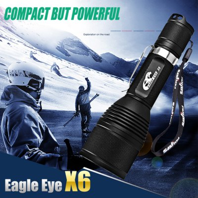 Eagle Eye X6 Cree XPL - HI V21A 1200LM 18650 LED FlashlightLED Flashlights<br>Eagle Eye X6 Cree XPL - HI V21A 1200LM 18650 LED Flashlight<br><br>Brand: Eagle Eye<br>Model: X6<br>Lamp Beads: Cree XPL HI V21A<br>Beads Number: 1<br>Lumens: 1200Lm<br>Color temperature: 6500-7000K<br>Switch Type: Clicky<br>Switch Location: Tail Cap<br>Feature: Lanyard, Pocket Clip, Integrated Heat Dissipation Design, Reverse Polarity Protection<br>Function: EDC, Night Riding, Hunting, Exploring, Camping, Household Use, Hiking, Walking<br>Battery Type: 18650<br>Battery Quantity: 1 (not included)<br>Mode: 5 (Turbo; High; Middle; Low; Strobe)<br>Mode Memory: Yes<br>Waterproof Standard: IPX-8 Standard Waterproof<br>LED Lifespan: 100000h<br>Power Source: Battery<br>Reflector: Aluminum Smooth Reflector<br>Lens: Toughened Ultra-clear Glass Lens with Anti-reflective Coating<br>Impact Resistance: 1.5m<br>Body Material: Aluminium Alloy<br>Available Light Color: Cool White<br>Available Color: Black<br>Product weight: 0.140 kg<br>Package weight: 0.2 kg<br>Product size (L x W x H): 14 x 4 x 4 cm / 5.50 x 1.57 x 1.57 inches<br>Package size (L x W x H): 15 x 5 x 5 cm / 5.90 x 1.97 x 1.97 inches<br>Package Contents: 1 x Eagle Eye X6 Light, 1 x Lanyard, 1 x O-ring, 1 x Clip