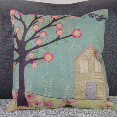 Classical Linen Tree and House Pattern Decorative Pillowcase (Without Pillow Inner)