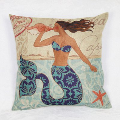 Funny Linen Mermaid Pattern Decorative Pillowcase (Without Pillow Inner)