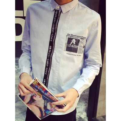 Гаджет   Japanese Print Selvedge Embellished Turn-Down Collar Long Sleeve Men