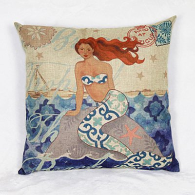 Colorful Linen Mermaid Pattern Decorative Pillowcase (Without Pillow Inner)