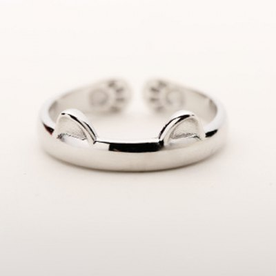 Cute Solid Color Cat Cuff Ring For Women