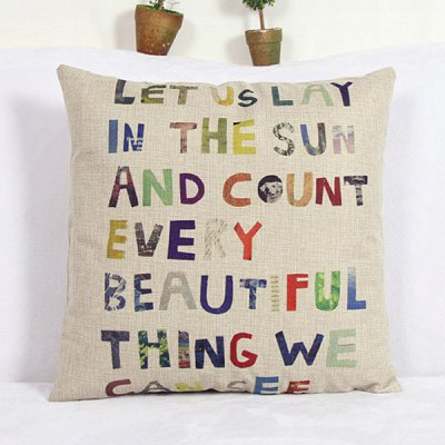 Modern Letter Pattern Square Linen Decorative Pillowcase (Without Pillow Inner)