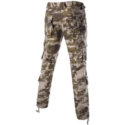 Гаджет   Camouflage Pockets Design Zipper Fly Straight Leg Slimming Men