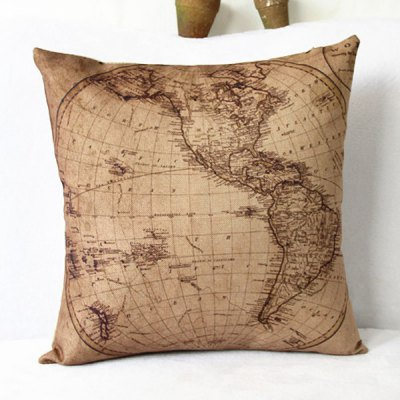 Classical World Map Pattern Linen Decorative Pillowcase(Without Pillow Inner)