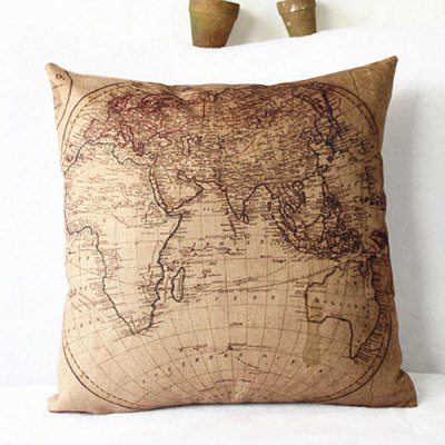 Classical World Map Pattern Pillowcase(Without Pillow Inner)