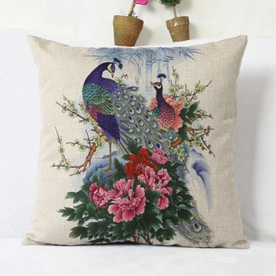 Classical Peacock Pattern Pillowcase(Without Pillow Inner)