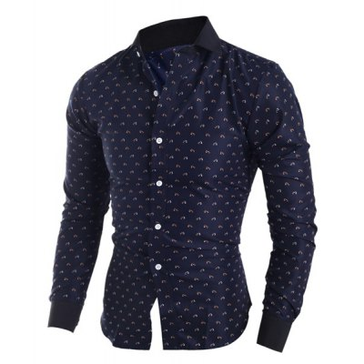 Classical Turn-Down Collar Long Sleeve Slimming Printed Mens ShirtMens Shirts<br>Classical Turn-Down Collar Long Sleeve Slimming Printed Mens Shirt<br><br>Shirts Type: Casual Shirts<br>Material: Polyester, Cotton<br>Sleeve Length: Full<br>Collar: Turn-down Collar<br>Weight: 0.230KG<br>Package Contents: 1 x Shirt