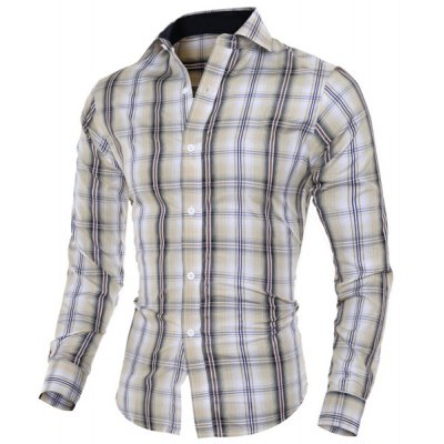 Turn-Down Collar Long Sleeve Slimming Plaid Classical Men