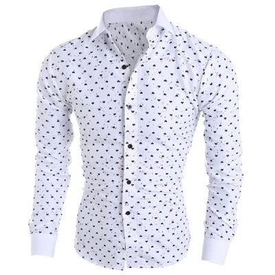 Classical Turn-Down Collar Long Sleeve Slimming Heart-Shaped Print Men