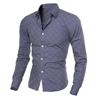 Гаджет   Classical Turn-Down Collar Long Sleeve Slimming Argyle Print Men