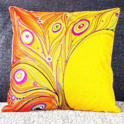 Classical Peacock Feather Pattern Decorative Pillowcase(Without Pillow Inner)