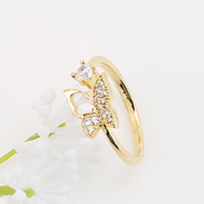 Delicate Rhinestone Butterfly Cuff Ring For WomenRings<br>Delicate Rhinestone Butterfly Cuff Ring For Women<br><br>Gender: For Women<br>Metal Type: Alloy<br>Style: Trendy<br>Shape/Pattern: Insect<br>Diameter: 1.7CM<br>Weight: 0.04KG<br>Package Contents: 1 x Ring