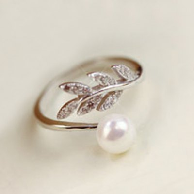 Sweet Faux Pearl Leaf Cuff Ring For Women