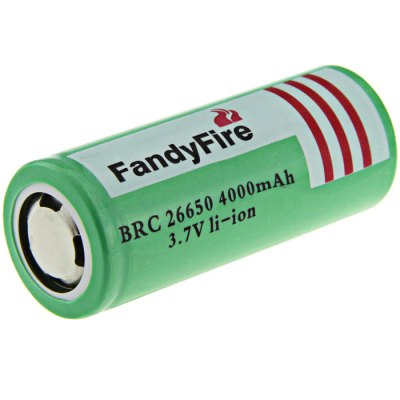 2PCS FandyFire 3.7V 4000mAh 26650 Rechargeable Protected Li-ion BatteryBatteries<br>2PCS FandyFire 3.7V 4000mAh 26650 Rechargeable Protected Li-ion Battery<br><br>Type: Battery<br>Brand: FandyFire<br>Battery Type: Lithium-ion<br>Battery  : 26650<br>Rechargeable: Yes<br>Protected: Yes<br>Voltage(V): 3.7V<br>Capacity: 4000mAh<br>Charge Time: 3.5-7h<br>Discharge Time: 2-3.5h<br>Built-in Protected Circuit: Yes<br>Over Voltage Protection: Yes<br>Over-charging Protection: Yes<br>Over-discharging Protection: Yes<br>Short Circuit Protection: Yes<br>Over Current Protection: Yes<br>Suitable for: Flashlight, Microphone, Multimeter, Electric Tools, Industrial Equipment, Digital Camera, Portable Games<br>Product weight: 0.175 kg<br>Package weight: 0.255 kg<br>Product size (L x W x H): 6.7 x 2.65 x 2.65 cm / 2.63 x 1.04 x 1.04 inches<br>Package size (L x W x H): 7.7 x 3.7 x 3.7 cm / 3.03 x 1.45 x 1.45 inches<br>Package Contents: 2 x FandyFire BRC26650 Protected Battery