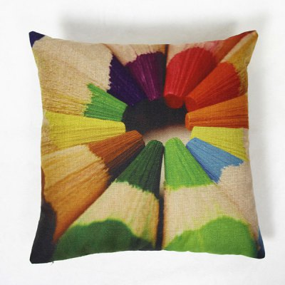 Modern Linen Pencils Pattern Square Pillowcase(Without Pillow Inner)
