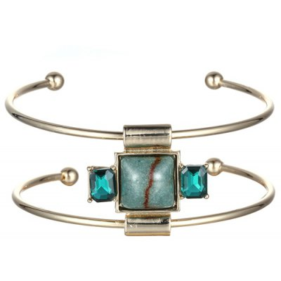 Faux Gemstone Square Double-Layered Cuff Bracelet For Women