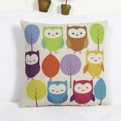 Fashion Owl Pattern Decorative Pillowcase(Without Pillow Inner)