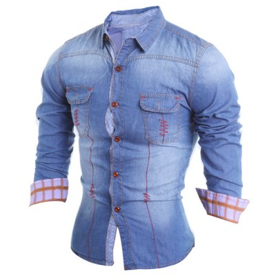 Turn-Down Collar Suture Design Plaid Crimping Long Sleeve Mens Chambray ShirtMens Shirts<br>Turn-Down Collar Suture Design Plaid Crimping Long Sleeve Mens Chambray Shirt<br><br>Shirts Type: Casual Shirts<br>Material: Cotton, Jeans<br>Sleeve Length: Full<br>Collar: Turn-down Collar<br>Weight: 0.313KG<br>Package Contents: 1 x Shirt