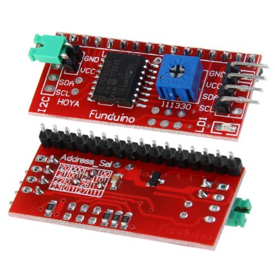 IIC / I2C Interface Pinboard for Arduino LCD1602Boards &amp; Shields<br>IIC / I2C Interface Pinboard for Arduino LCD1602<br><br>Type: Pinboard<br>Operating Voltage: 5V<br>Product Weight: 0.004 kg<br>Package Weight: 0.017 kg<br>Product Size(L x W x H): 4.1 x 1.9 x 0.6 cm / 1.61 x 0.75 x 0.24 inches<br>Package Size(L x W x H): 9.3 x 7.9 x 1.1 cm / 3.65 x 3.10 x 0.43 inches<br>Package Contents: 1 x Pinboard