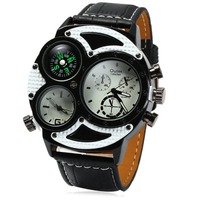 Oulm 3594 Dual Movt Compass Men Quartz Watch