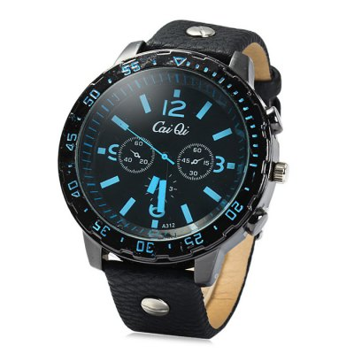 Cai Qi A312 Male Quartz Watch with Leather Band Double Scales