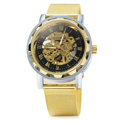 Fuyate Men Automatic Mechanical Watch with Gear Case Steel Net BandMens Watches<br>Fuyate Men Automatic Mechanical Watch with Gear Case Steel Net Band<br><br>Brand: Fuyate<br>Watches categories: Male table<br>Watch style: Business<br>Available color: Black, Gold<br>Movement type: Automatic mechanical watch<br>Shape of the dial: Round<br>Display type: Analog<br>Case material: Stainless steel<br>Band material: Steel<br>Clasp type: Pin buckle<br>The dial thickness: 1.2 cm / 0.47 inches<br>The dial diameter: 4.0 cm / 1.57 inches<br>The band width: 1.7 cm / 0.67 inches<br>Wearable length: 16 - 21 cm / 6.3 - 8.27 inches<br>Product weight: 0.078 kg<br>Package weight: 0.128 kg<br>Product size (L x W x H): 24 x 4 x 1.2 cm / 9.43 x 1.57 x 0.47 inches<br>Package size (L x W x H): 25 x 5 x 2.2 cm / 9.83 x 1.97 x 0.86 inches<br>Package contents: 1 x Fuyate Watch, 1 x Leather Band