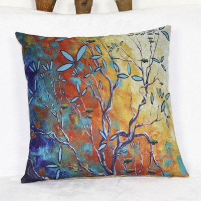 Modern Square Linen Bird and Tree Pattern Pillowcase(Without Pillow Inner)