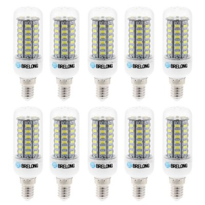 10pcs BRELONG E14 9W SMD 5730 900Lm LED Corn LightLED Light Bulbs<br>10pcs BRELONG E14 9W SMD 5730 900Lm LED Corn Light<br><br>Brand : BRELONG<br>Base Type: G9, E27, E14<br>Type: Corn Bulbs<br>Output Power: 9W<br>Emitter Types: SMD 5730<br>Total Emitters: 56<br>Luminous Flux: 900Lm<br>CCT/Wavelength: 3000-3500K, 6000-6500K<br>Voltage (V): AC 220-240<br>Features: Low Power Consumption, Long Life Expectancy<br>Function: Commercial Lighting, Home Lighting, Studio and Exhibition Lighting<br>Available Light Color: White, Warm White<br>Product Weight: 0.320 kg<br>Package Weight: 0.430 kg<br>Product Size (L x W x H): 9.7 x 3.3 x 3.3 cm / 3.81 x 1.30 x 1.30 inches<br>Package Size (L x W x H): 13.2 x 9.9 x 10.7 cm / 5.19 x 3.89 x 4.21 inches<br>Package Contents: 10 x BRELONG 9W LED Corn Bulb
