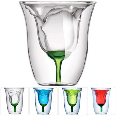 Rose Style Double Layer Glass Cup