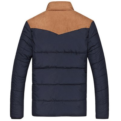 Flocking Stand Collar Splicing Design Long Sleeve Thicken Men's Cotton-Padded Jacket