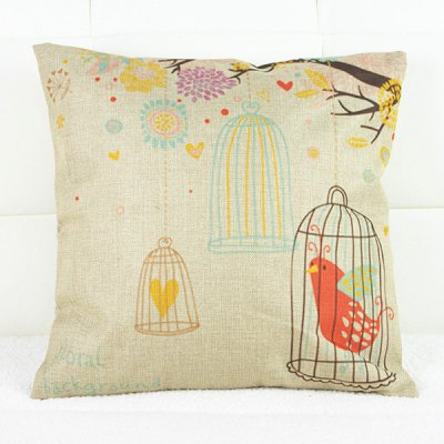 Casual Birdcage Pattern Decorative Pillowcase(Without Pillow Inner)