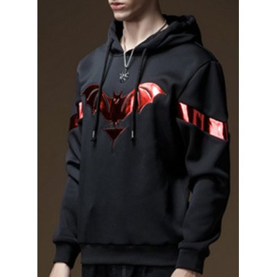 Hooded PU-Leather Splicing Bat Pattern Long Sleeve Men