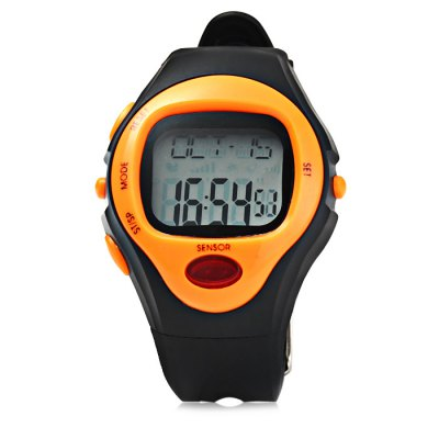 Infrared Electronic Sports Watch Heart Rate MonitoringOther Sports Gadgets<br>Infrared Electronic Sports Watch Heart Rate Monitoring<br><br>Material: Rubber<br>Color: Green, Purple, Orange, Pink, Blue, Yellow<br>Features: Alarm, Date Display, 1/100s Stopwatch<br>Waterproof Grade: 50m<br>Best Use: Climbing, Cycling, Diving, Running, Mountaineering<br>Product Weight: 0.041 kg<br>Package Weight: 0.067 kg<br>Product Dimension: 22 x 4.2 x `1.6 cm / 8.65 x 1.65 x NaN inches<br>Package Dimension: 28 x 7 x 2.2 cm / 11.00 x 2.75 x 0.86 inches<br>Package Contents: 1 x Sports Watch ( Built-in 1 x CR2032 Button Battery ), 1 x English User Manual