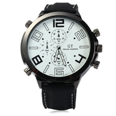 GT Male Japan Quartz Watch with Rubber BandMens Watches<br>GT Male Japan Quartz Watch with Rubber Band<br><br>Brand: GT<br>Watches categories: Male table<br>Watch style: Casual<br>Available color: Orange, Yellow, White, Red, Blue, Green<br>Movement type: Quartz watch<br>Shape of the dial: Round<br>Display type: Analog<br>Case material: Stainless steel<br>Band material: Rubber<br>Clasp type: Pin buckle<br>Special features: Decorating small sub-dials<br>The dial thickness: 1.0 cm / 0.39 inches<br>The dial diameter: 5.5 cm / 2.16 inches<br>The band width: 2.2 cm / 0.87inches<br>Wearable length: 18 - 24 cm / 7.09 - 9.45 inches<br>Product weight: 0.086 kg<br>Package weight: 0.136 kg<br>Product size (L x W x H): 27 x 5.5 x 1 cm / 10.61 x 2.16 x 0.39 inches<br>Package size (L x W x H): 28 x 6.5 x 2 cm / 11.00 x 2.55 x 0.79 inches<br>Package contents: 1 x GT Watch