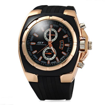 GT Male Quartz Watch with Rubber Band Double ScalesMens Watches<br>GT Male Quartz Watch with Rubber Band Double Scales<br><br>Available Color: Black,Black and white,Gold and Black,White<br>Band material: Rubber<br>Brand: V6<br>Case material: Stainless Steel<br>Clasp type: Pin buckle<br>Display type: Analog<br>Movement type: Quartz watch<br>Package Contents: 1 x GT Watch<br>Package size (L x W x H): 24.00 x 6.00 x 2.00 cm / 9.45 x 2.36 x 0.79 inches<br>Package weight: 0.1410 kg<br>Product size (L x W x H): 23.00 x 5.00 x 1.00 cm / 9.06 x 1.97 x 0.39 inches<br>Product weight: 0.0910 kg<br>Shape of the dial: Round<br>Special features: Decorating small sub-dials<br>Style elements: Big dial<br>The band width: 2.2 cm / 0.87inches<br>The dial diameter: 5.0 cm / 1.97 inches<br>The dial thickness: 1.0 cm / 0.39 inches<br>Watch style: Fashion<br>Watches categories: Male table