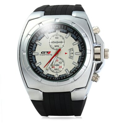 GT Male Quartz Watch with Rubber Band Double Scales