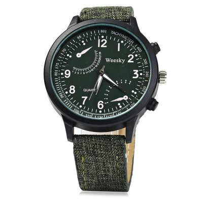 Weesky 1263 Male Quartz Watch with Leather + Cloth BandMens Watches<br>Weesky 1263 Male Quartz Watch with Leather + Cloth Band<br><br>Brand: Weesky<br>Watches categories: Male table<br>Watch style: Fashion<br>Available color: Blue, Green, Brown, Gray, Black<br>Movement type: Quartz watch<br>Shape of the dial: Round<br>Display type: Analog<br>Case material: Stainless steel<br>Band material: Cloth leather<br>Clasp type: Pin buckle<br>Special features: Decorating small sub-dials<br>The dial thickness: 1.0 cm / 0.39 inches<br>The dial diameter: 4.5 cm / 1.77 inches<br>The band width: 1.8 cm / 0.71inches<br>Wearable length: 17 - 21 cm / 6.69 - 8.27 inches<br>Product weight: 0.043 kg<br>Package weight: 0.093 kg<br>Product size (L x W x H): 24 x 4.5 x 1 cm / 9.43 x 1.77 x 0.39 inches<br>Package size (L x W x H): 25 x 5.5 x 2 cm / 9.83 x 2.16 x 0.79 inches<br>Package contents: 1 x Weesky 1263 Watch