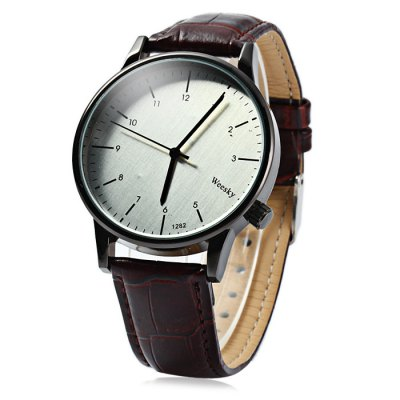 Гаджет   Weesky 1282 Leather Band Men Quartz Watch Men