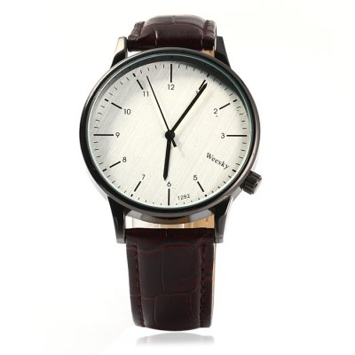 Weesky 1282 Leather Band Men Quartz WatchMens Watches<br>Weesky 1282 Leather Band Men Quartz Watch<br><br>Brand: Weesky<br>Watches categories: Male table<br>Watch style: Fashion<br>Available color: Brown, Black<br>Movement type: Quartz watch<br>Shape of the dial: Round<br>Display type: Analog<br>Case material: Stainless steel<br>Band material: Leather<br>Clasp type: Pin buckle<br>The dial thickness: 0.8 cm / 0.31 inches<br>The dial diameter: 4.1 cm / 1.61 inches<br>The band width: 1.8 cm / 0.71inches<br>Wearable length: 17.5 - 22 cm / 6.89 - 8.66 inches<br>Product weight: 0.037 kg<br>Package weight: 0.087 kg<br>Product size (L x W x H): 25.5 x 4.1 x 0.8 cm / 10.02 x 1.61 x 0.31 inches<br>Package size (L x W x H): 26.5 x 5.1 x 1.8 cm / 10.41 x 2.00 x 0.71 inches<br>Package contents: 1 x Weesky 1282 Watch