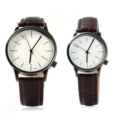 Weesky 1282 Quartz Watch Leather Band Lover WristwatchCouples Watches<br>Weesky 1282 Quartz Watch Leather Band Lover Wristwatch<br><br>Brand: Weesky<br>Watches categories: Couple tables<br>Watch style: Casual<br>Style elements: Stainless steel<br>Available color: Black, Brown<br>Shape of the dial: Round<br>Movement type: Quartz watch<br>Display type: Analog<br>Case material: Stainless steel<br>Band material: Leather<br>Clasp type: Pin buckle<br>Package weight: 0.112 kg<br>Package size (L x W x H): 26.5 x 8.3 x 1.8 cm / 10.41 x 3.26 x 0.71 inches<br>The male dial dimension (L x W x H): 4.1 x 4.1 x 0.8 cm / 1.61 x 1.61 x 0.31 inches<br>The male watch band dimension (L x W): 25.5 x 1.8 cm / 10.02 x 0.71 inches<br>The male watch weight: 0.037kg<br>The male watch size (L x W x H): 25 x 4.0 x 0.7 cm / 9.83 x 1.57 x 0.28 inches<br>The female dial dimension (L x W x H): 3.2 x 3.2 x 0.6 cm / 1.26 x 1.26 x 0.24 inches<br>The female watch band dimension (L x W): 24.5 x 1.5 cm / 9.63 x 0.59 inches<br>The female watch weight: 0.025 kg<br>The female size (L x W x H): 24.5 x 3.2 x 0.6 cm / 9.63 x 1.26 x 0.24 inches<br>Package contents: 2 x Weesky 1282 Couple Watch