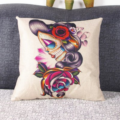 Fashion Woman Pattern Decorative Pillowcase(Without Pillow Inner)