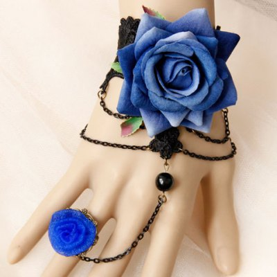 Noble Hollow Out Lace Flower Bracelet With Ring For Women
