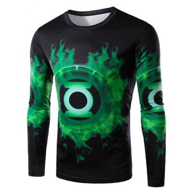 Round Neck 3D Green Lantern Logo Print Long Sleeve Men's T-Shirt