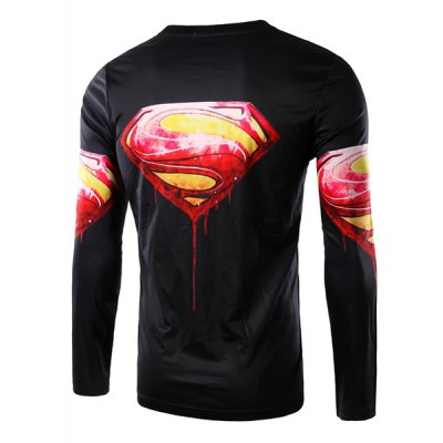 Гаджет   Round Neck 3D Logo Blood Superman Print Long Sleeve Men