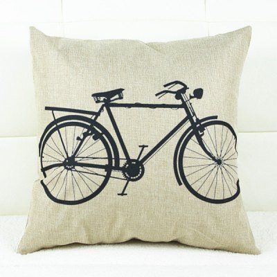 Simple Square Bicycle Pattern Pillowcase(Without Pillow Inner)